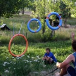 Rings made from pool floaties  (The goal: throw a balloon through all three in one throw)