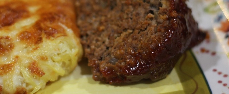 Meatloaf and cheesy hash brown potatoes