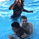 Josh, Jared, and Em finishing with a dip in the pool.